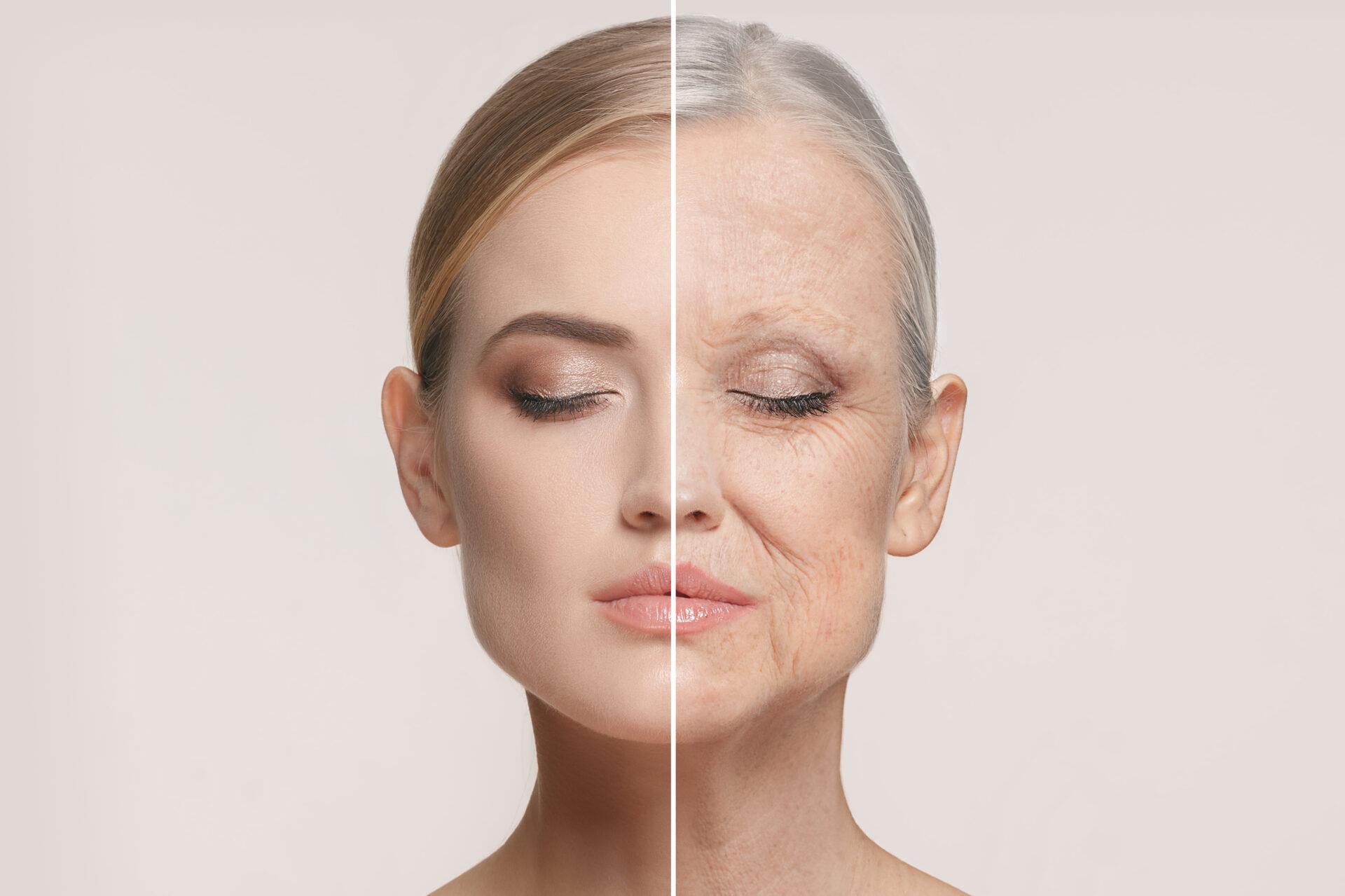 kobieta z młodą oraz starą skórą jednocześnie